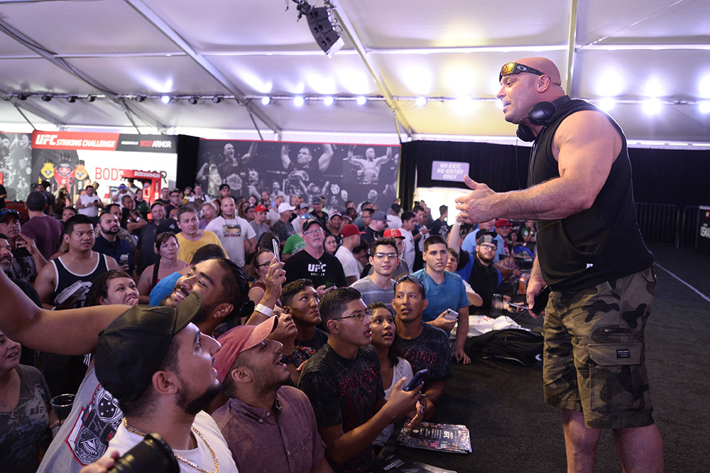UFC Hall of Famer Matt Serra talks to a crowd of fans at UFC's International Fight Week in Las Vegas, NV.