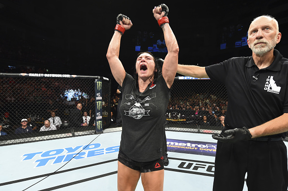 BOISE, ID - JULY 14: <a href='../fighter/Cat-Zingano'>Cat Zingano</a> celebrates her decision victory over <a href='../fighter/marion-reneau'>Marion Reneau</a> in their women's bantamweight fight during the <a href='../event/UFC-Silva-vs-Irvin'>UFC Fight Night </a>event inside CenturyLink Arena on July 14, 2018 in Boise, Idaho. (Photo by Josh Hedges/Zuffa LLC/Zuffa LLC via Getty Images)