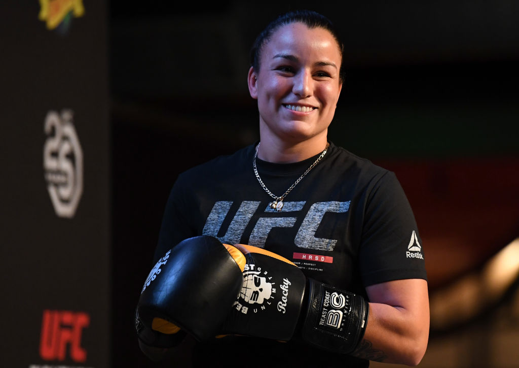 DENVER, CO - NOVEMBER 07: Raquel Pennington holds an open workout for fans and media on November 7, 2018 in Denver, Colorado. (Photo by Josh Hedges/Zuffa LLC/Zuffa LLC via Getty Images)