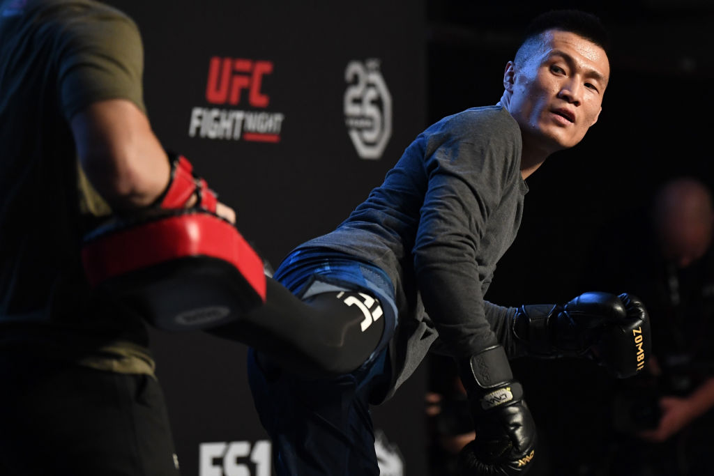 DENVER, CO - NOVEMBER 07: <a href='../fighter/Chan-Sung-Jung'>Chan Sung Jung</a> of South Korea holds an open workout for fans and media on November 7, 2018 in Denver, Colorado. (Photo by Josh Hedges/Zuffa LLC/Zuffa LLC via Getty Images)