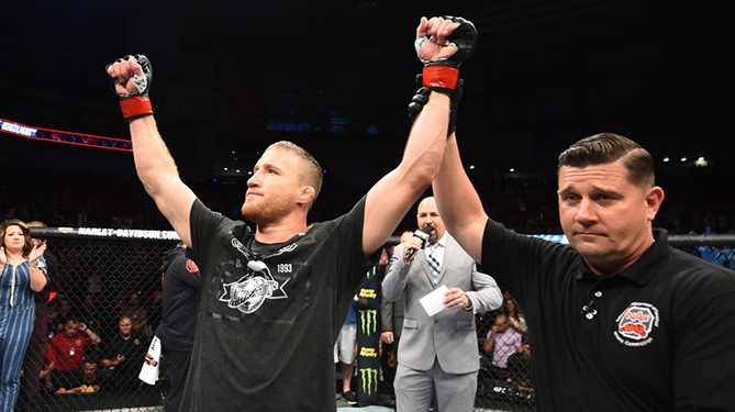 LINCOLN, NE - AUGUST 25:  <a href='../fighter/Justin-Gaethje'>Justin Gaethje</a> celebrates after his knockout victory over <a href='../fighter/James-Vick'>James Vick</a> in their lightweight fight during the <a href='../event/UFC-Silva-vs-Irvin'>UFC Fight Night </a>event at Pinnacle Bank Arena on August 25, 2018 in Lincoln, Nebraska. (Photo by Josh Hedges/Zuffa LLC/Zuffa LLC via Getty Images)