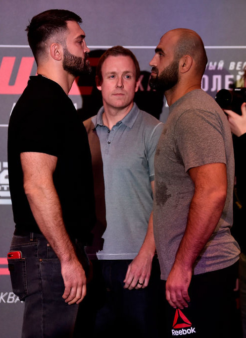 Opponents Andrei Arlovski of Belarus and Shamil Abdurakhimov of Russia face off during the UFC Fight Night ultimate media day on September 13, 2018 in Moscow, Russia. (Photo by Jeff Bottari/Zuffa LLC