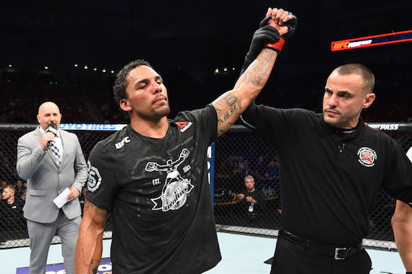 LINCOLN, NE - AUGUST 25:  <a href='../fighter/Eryk-Anders'>Eryk Anders</a> celebrates after his knockout victory over <a href='../fighter/tim-williams'>Tim Williams</a> in their middleweight fight during the <a href='../event/UFC-Silva-vs-Irvin'>UFC Fight Night </a>event at Pinnacle Bank Arena on August 25, 2018 in Lincoln, Nebraska. (Photo by Josh Hedges/Zuffa LLC via Getty Images)