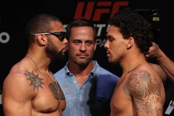 SAO PAULO, BRAZIL - SEPTEMBER 21: (L-R) Opponents Thiago Santos of Brazil and Eryk Anders of the United States face off during the UFC Fight Night weigh-in at Ibirapuera Gymnasium on September 21, 2018 in Sao Paulo, Brazil. (Photo by Buda Mendes/Zuffa LLC via Getty Images)