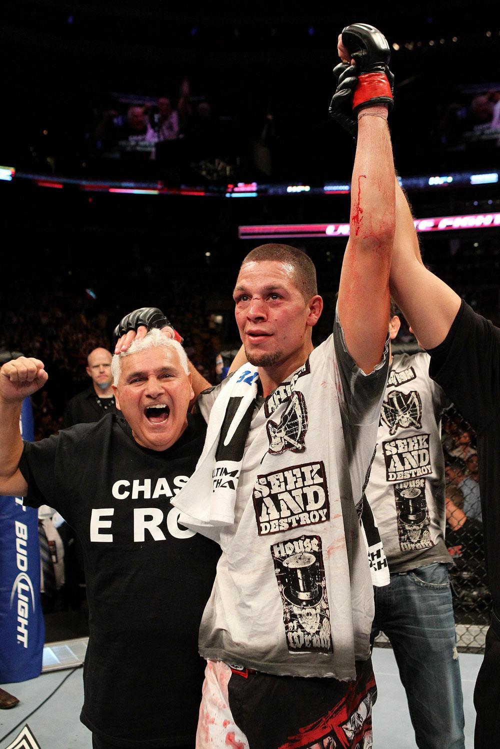 UFC 118 Nate Diaz Celebrates