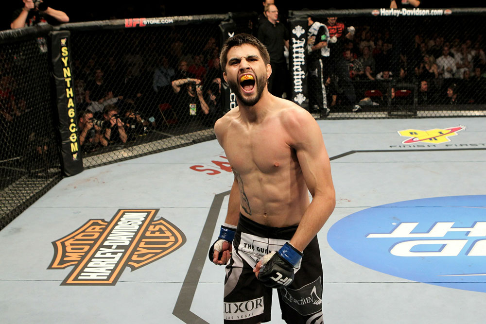 UFC 120: Carlos Condit celebrates after knocking-out Dan Hardy