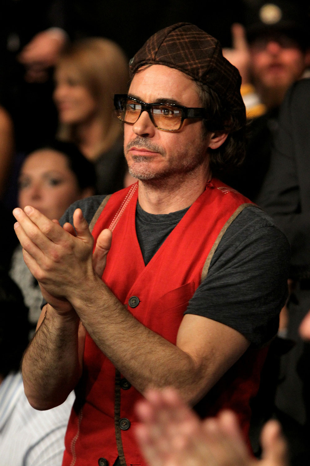 UFC 120: Robert Downey Jr. watches the main event.