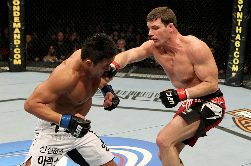 UFC 120: Bisping (black shorts) vs. Akiyama (white shorts)