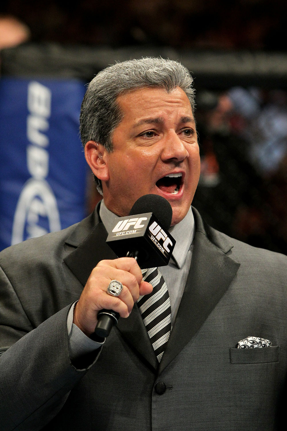 UFC 120: Bruce Buffer announces the main event fight.