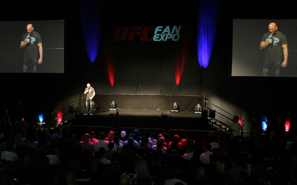 UFC President Dana White talks with fans at the Q&A session at the UFC Fan Expo London at Earl's Court Arena.
