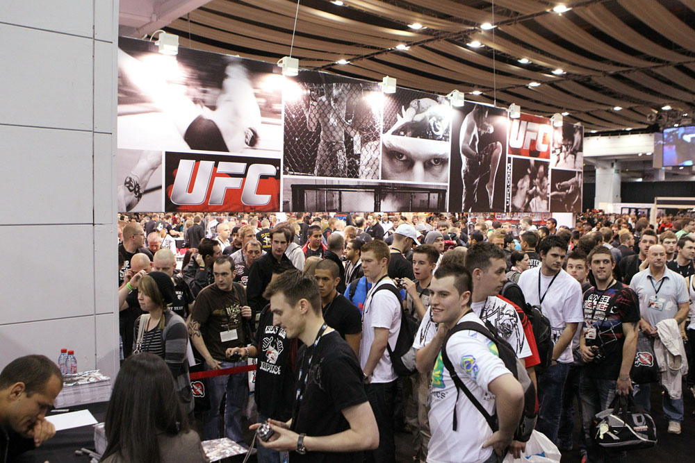 A general view of the crowd outside the UFC booth at the UFC Fan Expo London at Earl's Court Arena.