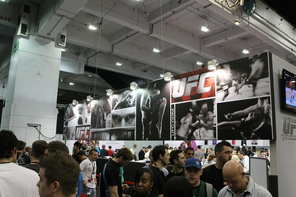 A general view of the crowd outside the UFC booth at the UFC Fan Expo London at Earl's Court Arena on October 15, 2010 in London, England.