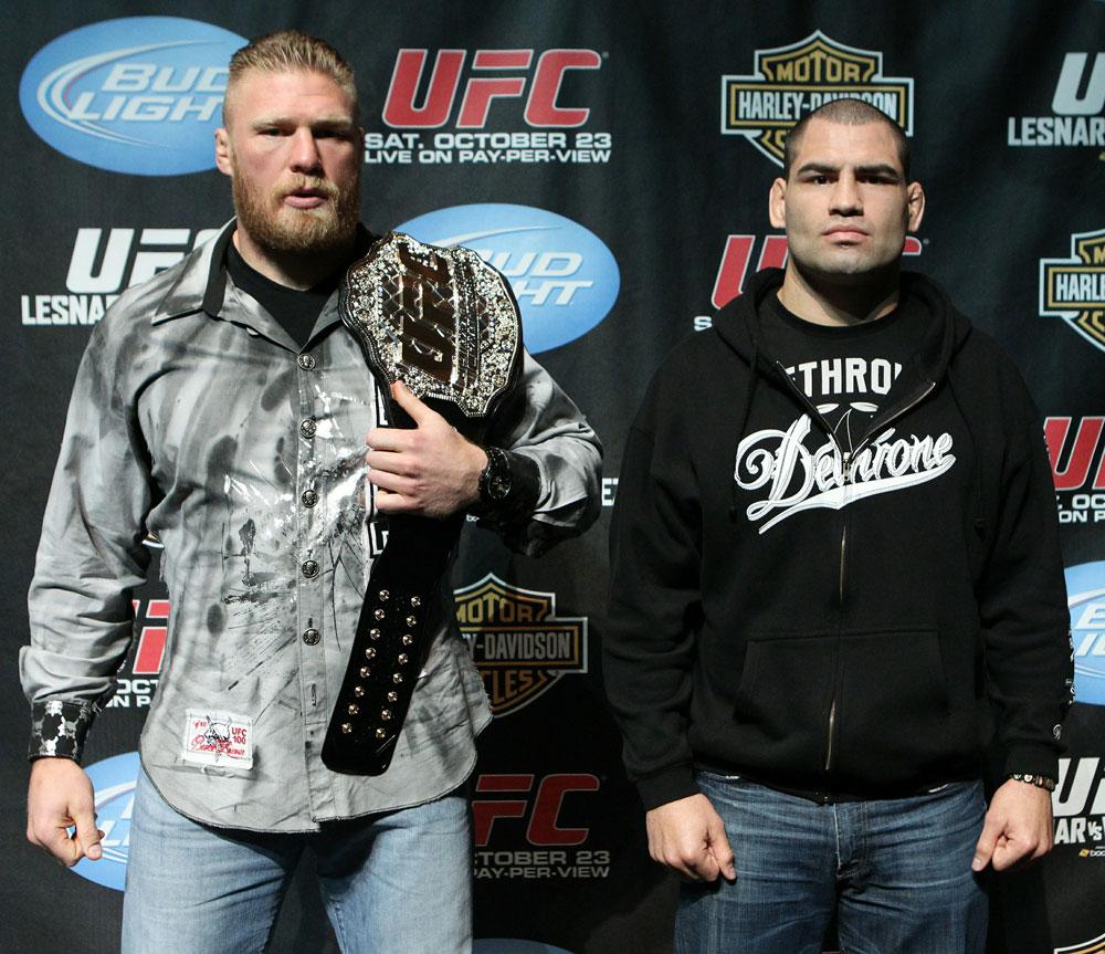 (L-R) UFC Heavyweight Champion Brock Lesnar and challenger Cain Velasquez at the UFC 121 pre-fight press conference at the Walt Disney Concert Hall on October, 20 2010 in Los Angeles, California.