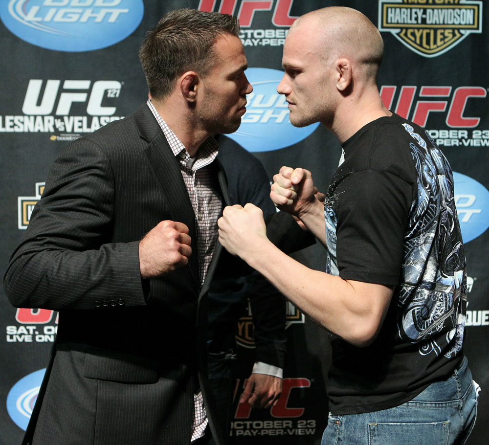 (L-R) Welterweight opponents Jake Shields and Martin Kampmann at the UFC 121 pre-fight press conference at the Walt Disney Concert Hall on October, 20 2010 in Los Angeles, California.
