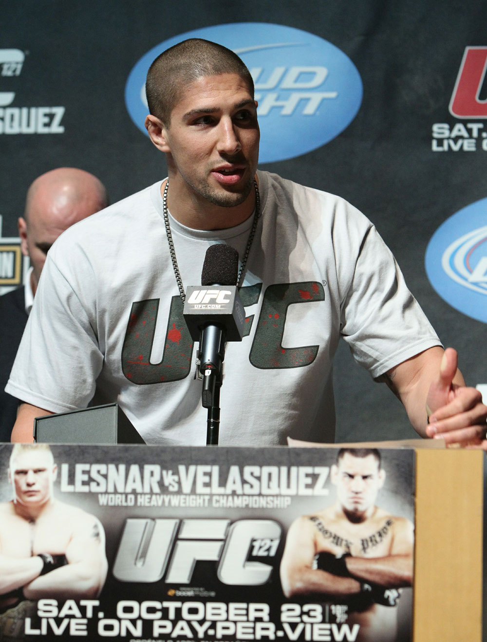 Heavyweight fighter Brendan Schaub accepts the Tequila Cazadores Spirit Award at the UFC 121 pre-fight press conference at the Walt Disney Concert Hall on October, 20 2010 in Los Angeles, California.