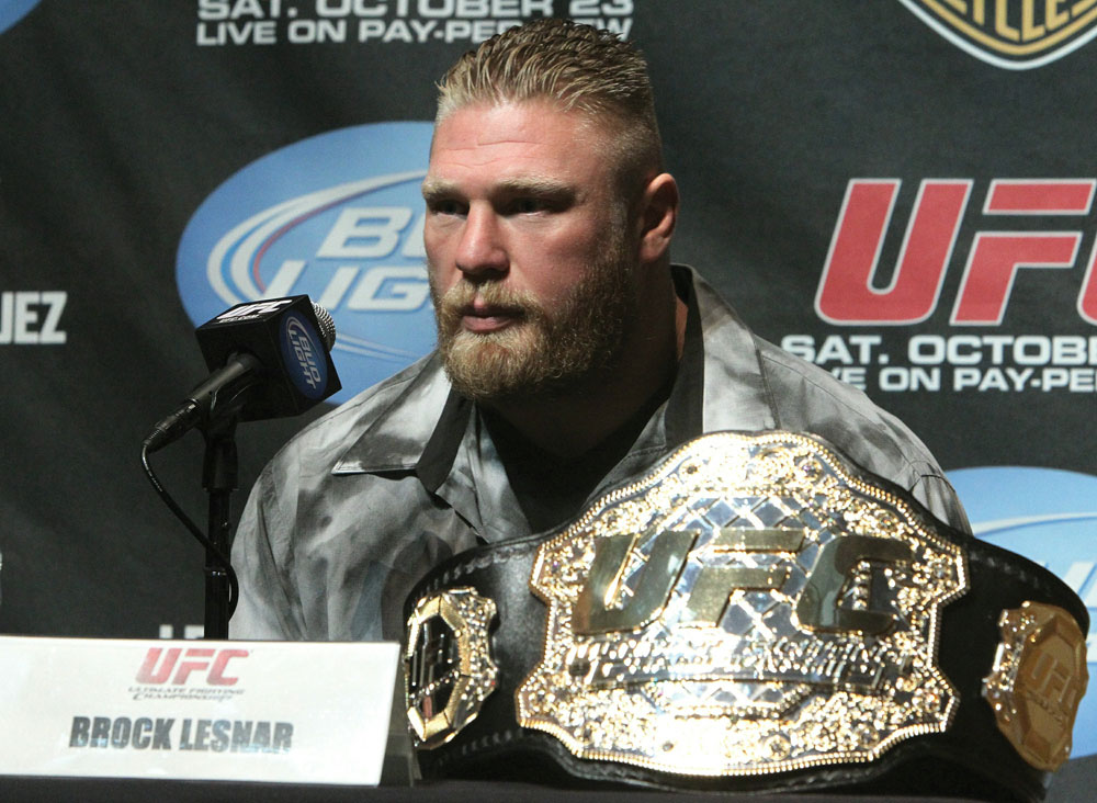 UFC Heavyweight Champion Brock Lesnar at the UFC 121 pre-fight press conference at the Walt Disney Concert Hall on October, 20 2010 in Los Angeles, California.