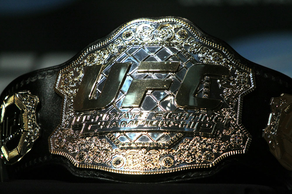 The UFC Heavyweight Championship belt at the UFC 121 pre-fight press conference at the Walt Disney Concert Hall on October, 20 2010 in Los Angeles, California.