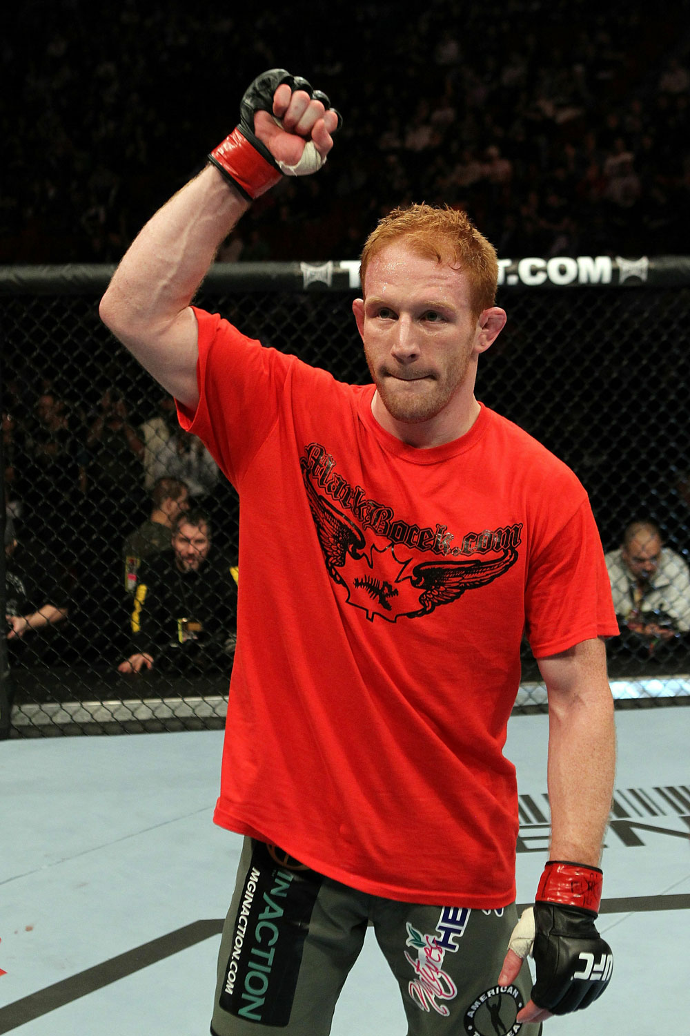 UFC 124: Bocek celebrates his win.