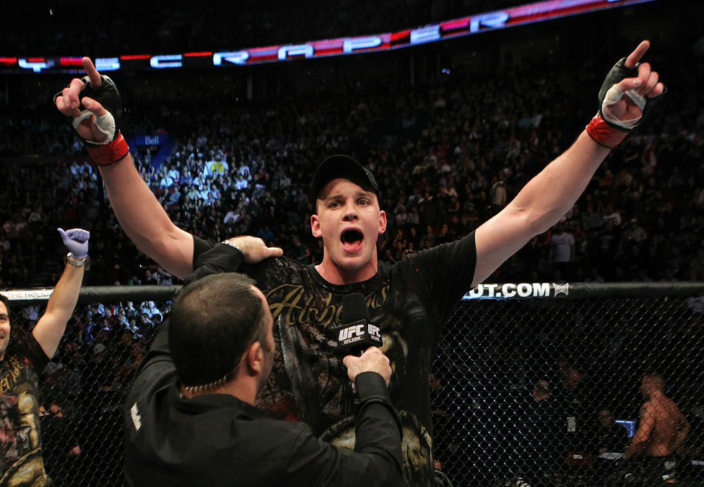 UFC 124: Stefan Struve celebrates his win.
