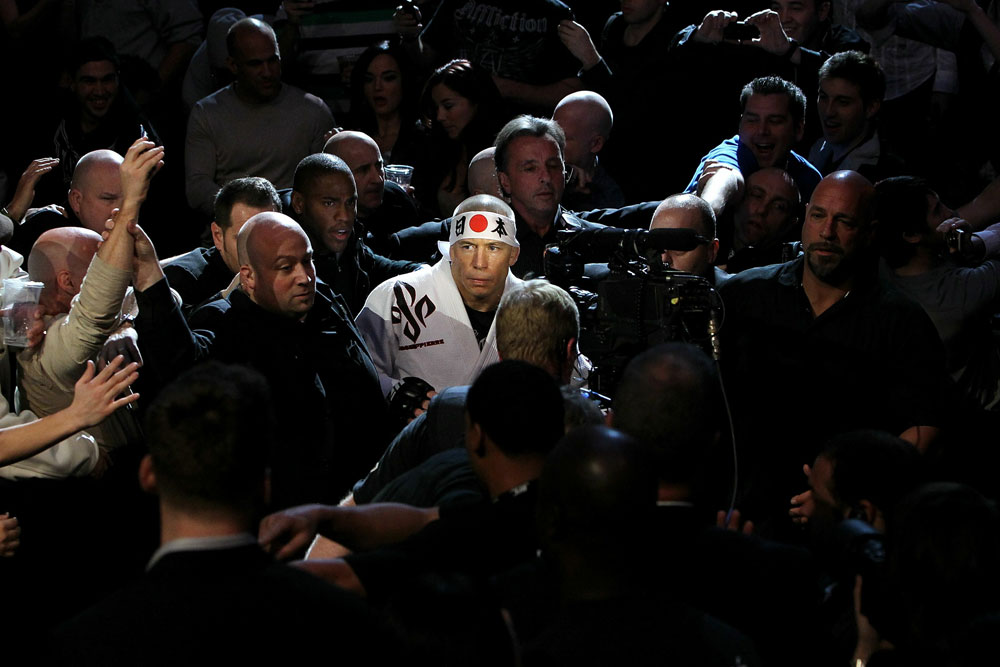 UFC 124: Georges St-Pierre enters the ring.