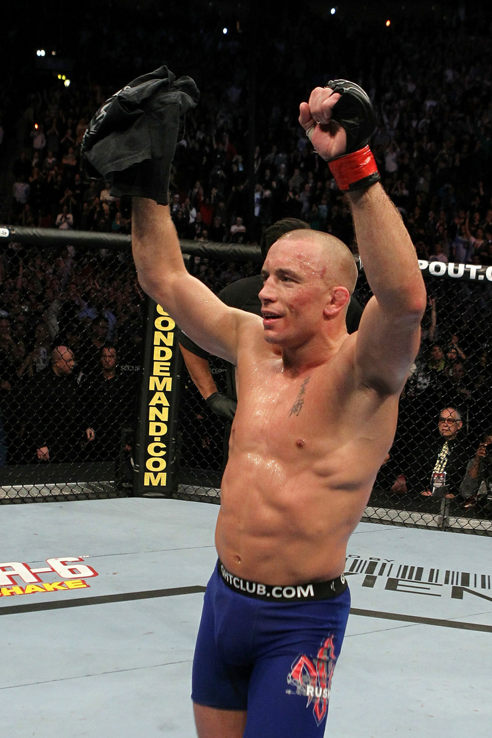UFC 124: Georges St-Pierre celebrates his win.
