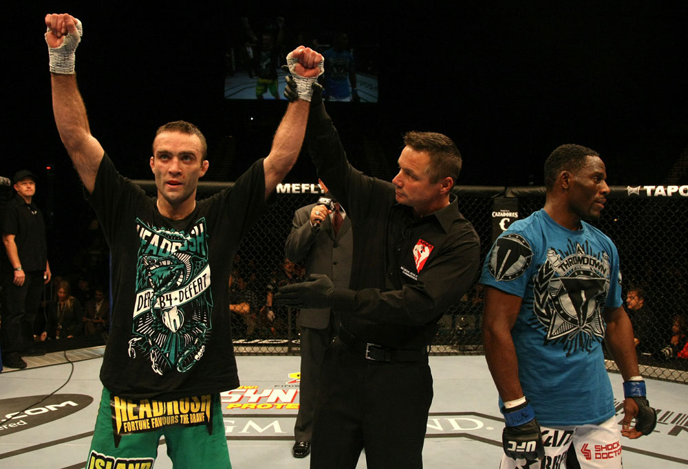UFC 125: Jacob Volkmann celebrates his win.