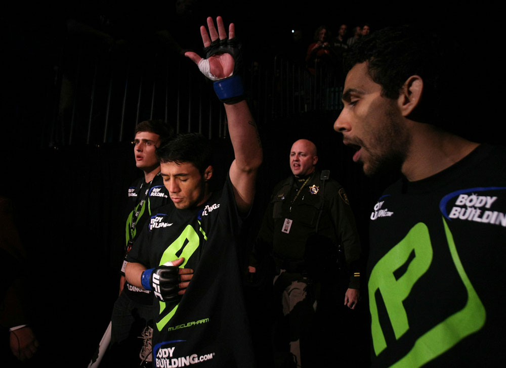UFC 125: Diego Nunes enters the ring.