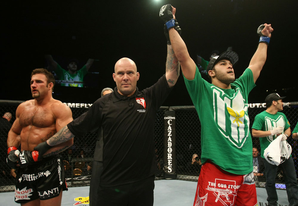 UFC 125: Brad Tavares celebrates his win over Phil Baroni.
