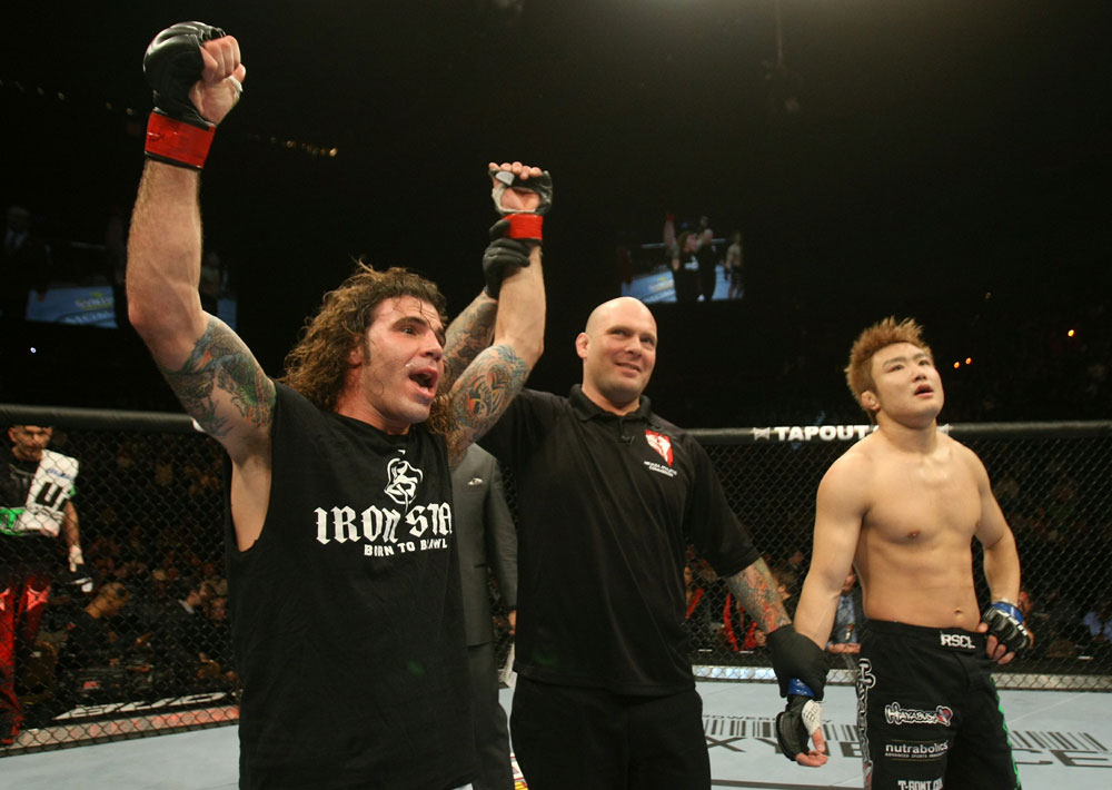UFC 125: Clay Guida celebrates his win over Takanori Gomi.