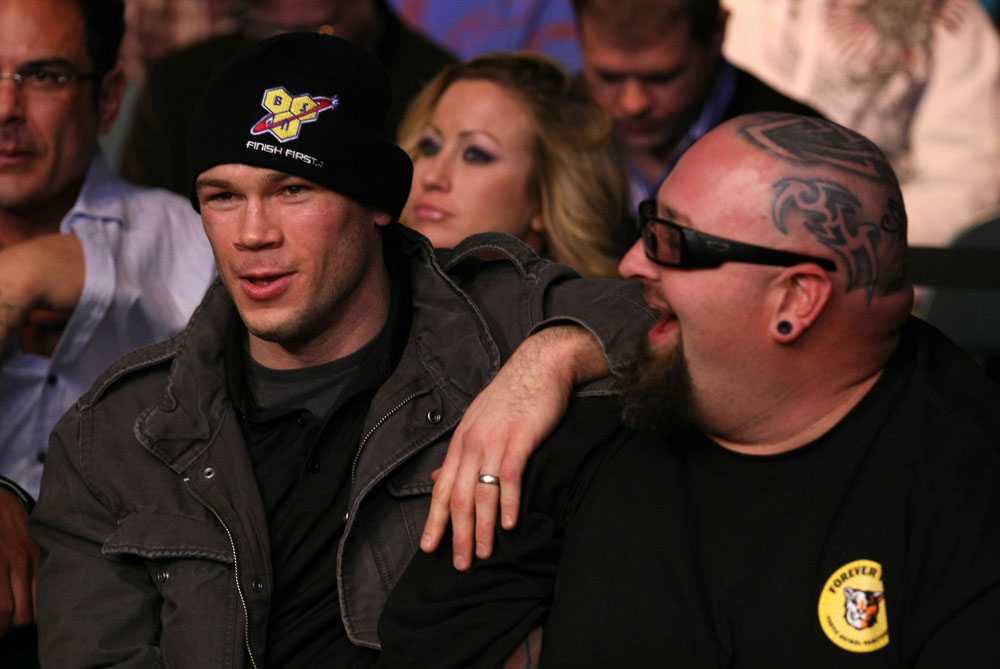 UFC 125: Forrest Griffin and TV Personality Clinton &quot;Ton&quot; Jones enjoys the fights.