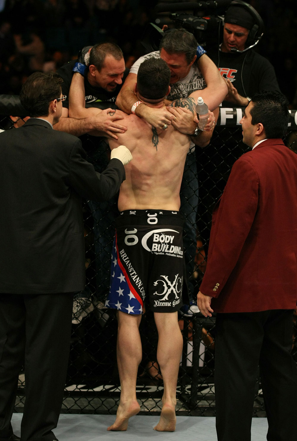 UFC 125: Brian Stann celebrates his victory over Chris Leben.