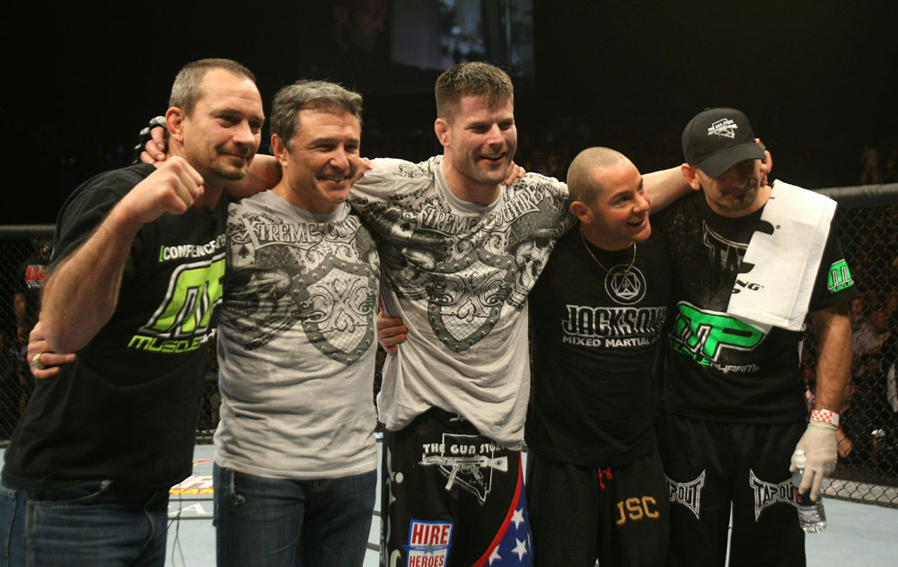 UFC 125: Brian Stann celebrates his win.