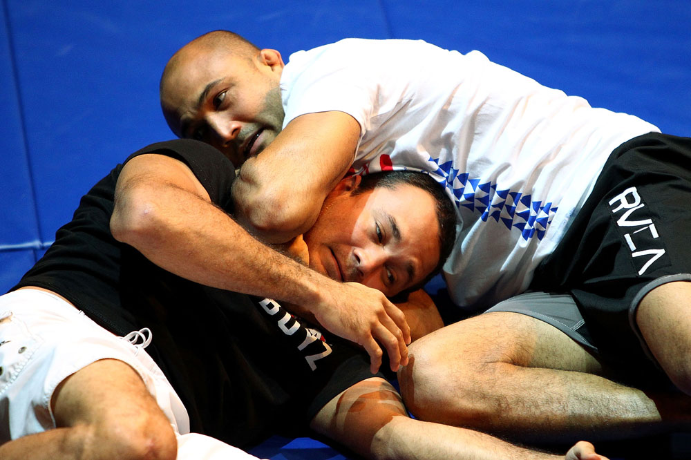 BJ Penn practices his grappling during an Open Workout