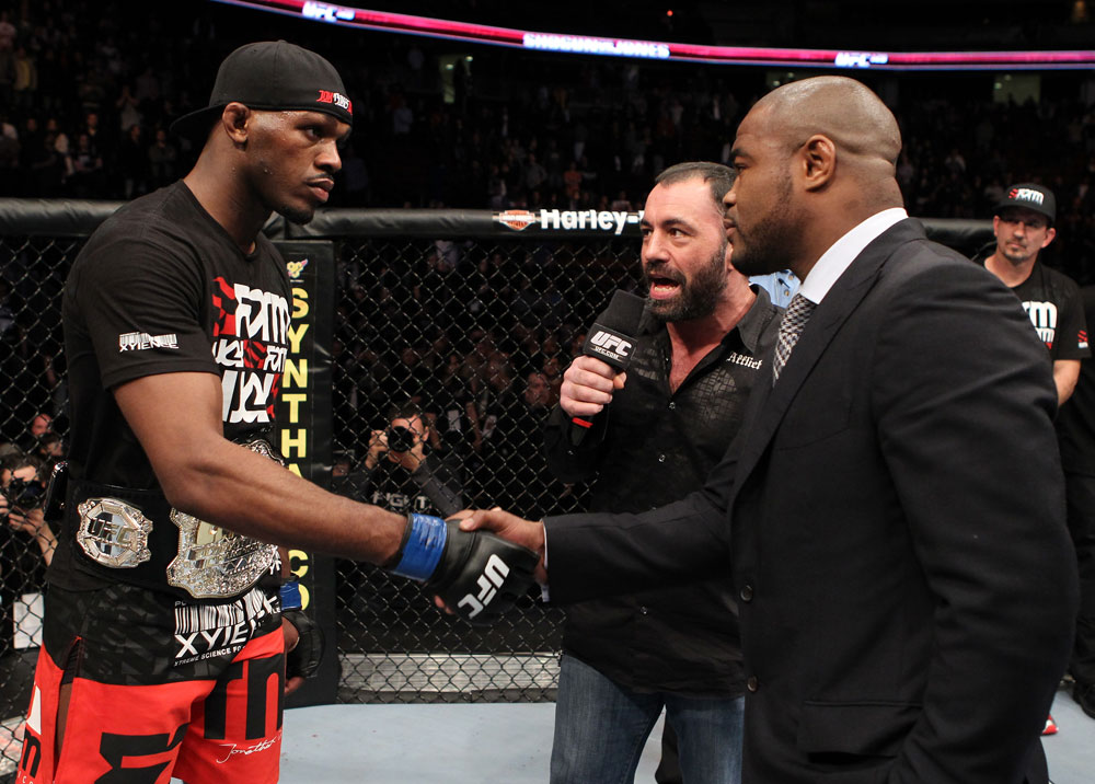 "UFC 128: Jon ""Bones"" Jones and Rashad Evans shake hands when announced the next contenders for the Light Heavyweight title."