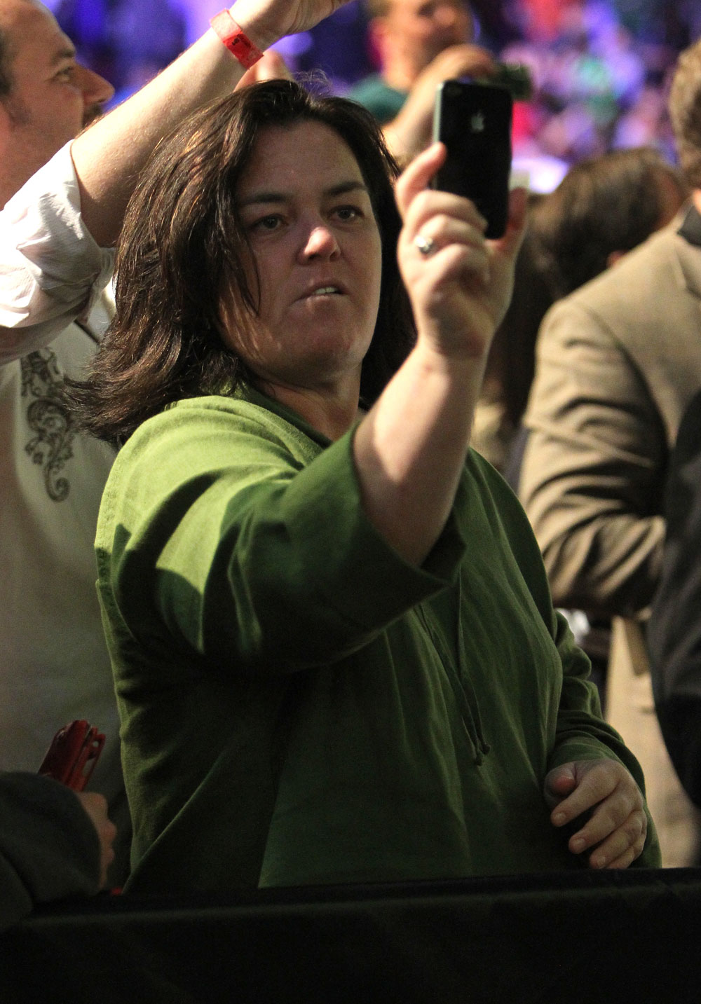 Comedian Rosie O'Donnell attends UFC 128 in Newark, New Jersey.