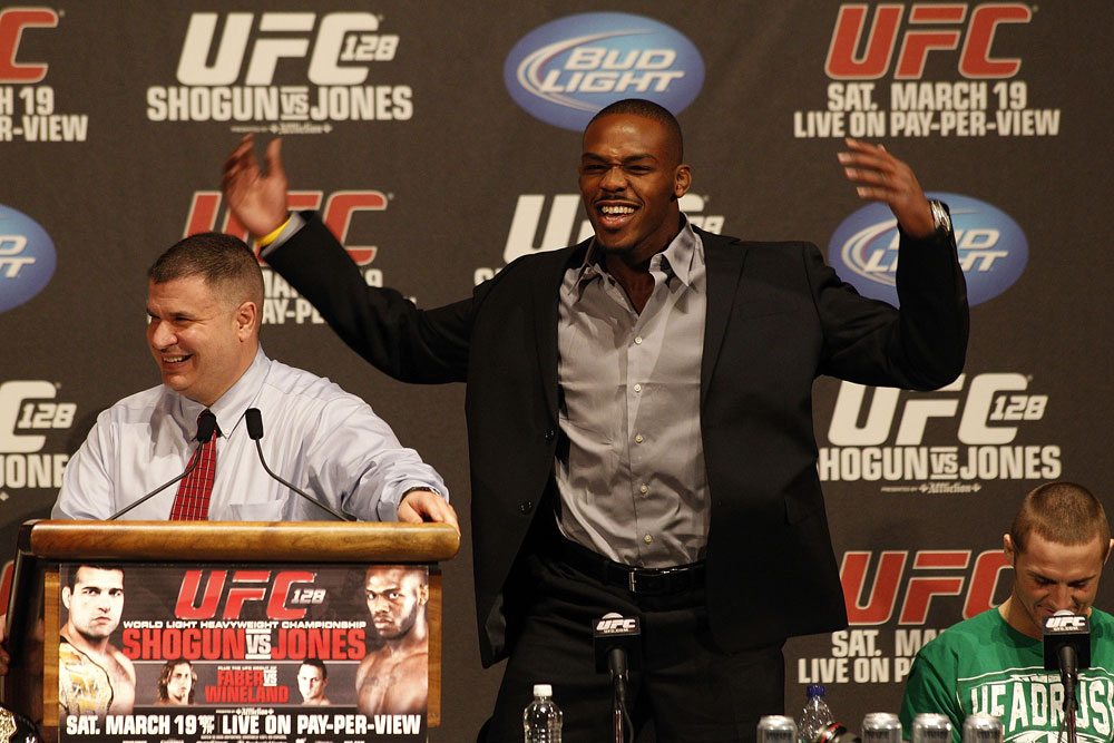 UFC 128: Pre-Fight Press Conference (L-R): Jon Jones & Eddie Wineland
