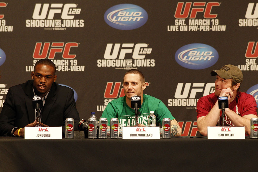 UFC 128: Pre-Fight Press Conference (L-R): Jon