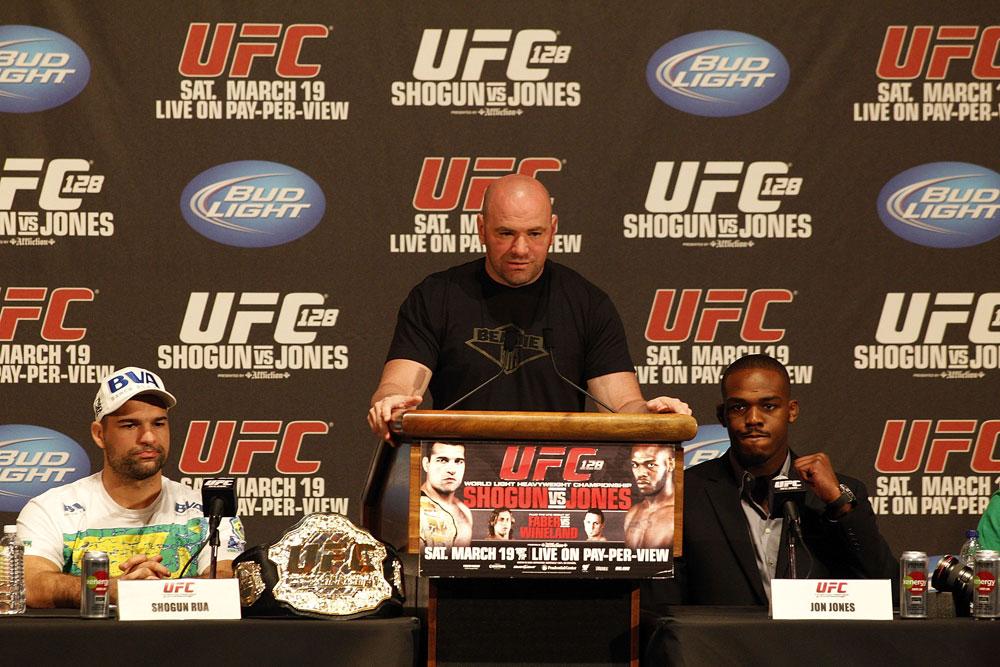 UFC 128: Pre-Fight Press Conference (L-R): Shogun Rua, Dana White, Jon Jones