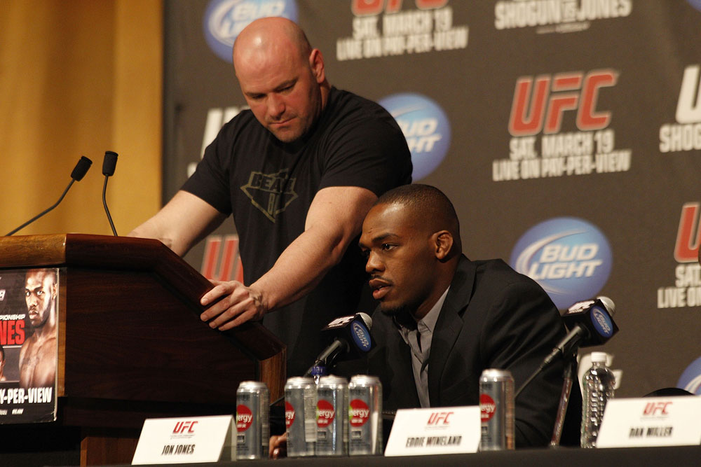 UFC 128: Pre-Fight Press Conference: (L-R) Dana White &amp; Jon Jones