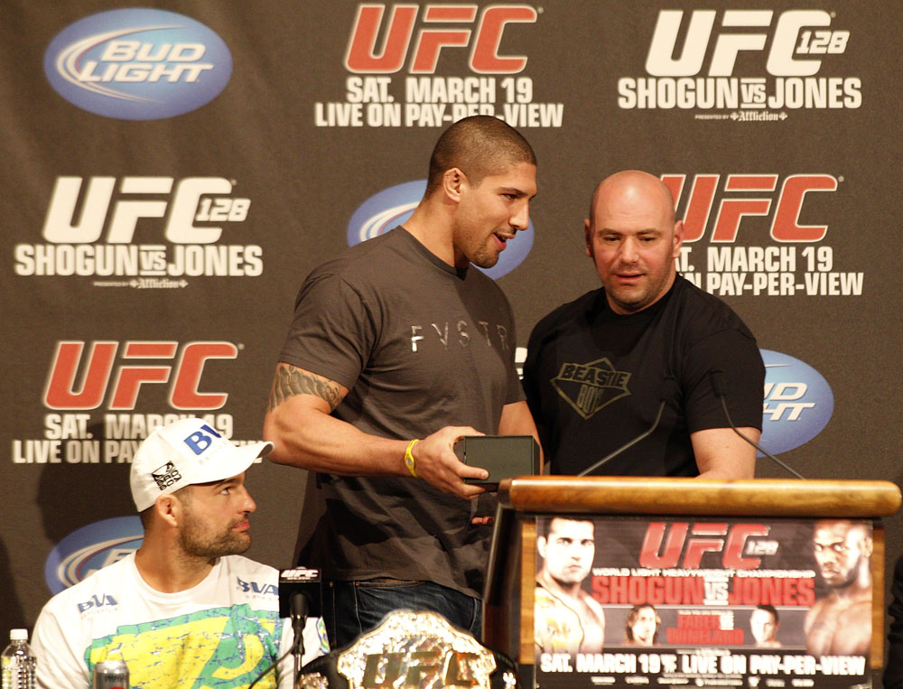 UFC 128: Pre-Fight Press Conference: (L-R) Shogun, Brendan Schaub & Dana White