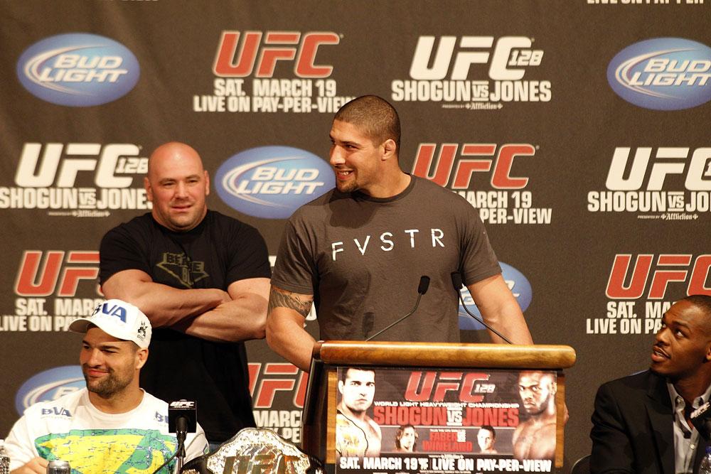 UFC 128: Pre-Fight Press Conference: (L-R) Shogun, Dana White, Brendan Schaub and Jon Jones