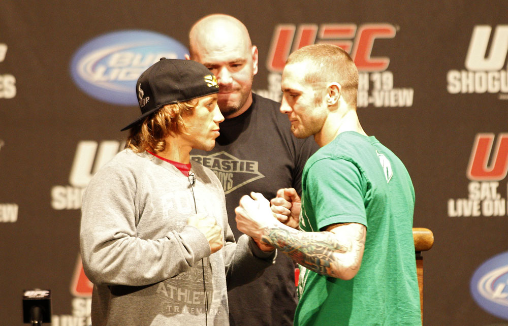 UFC 128: Pre-Fight Press Conference: (L-R) Urijah Faber vs. Eddie Wineland