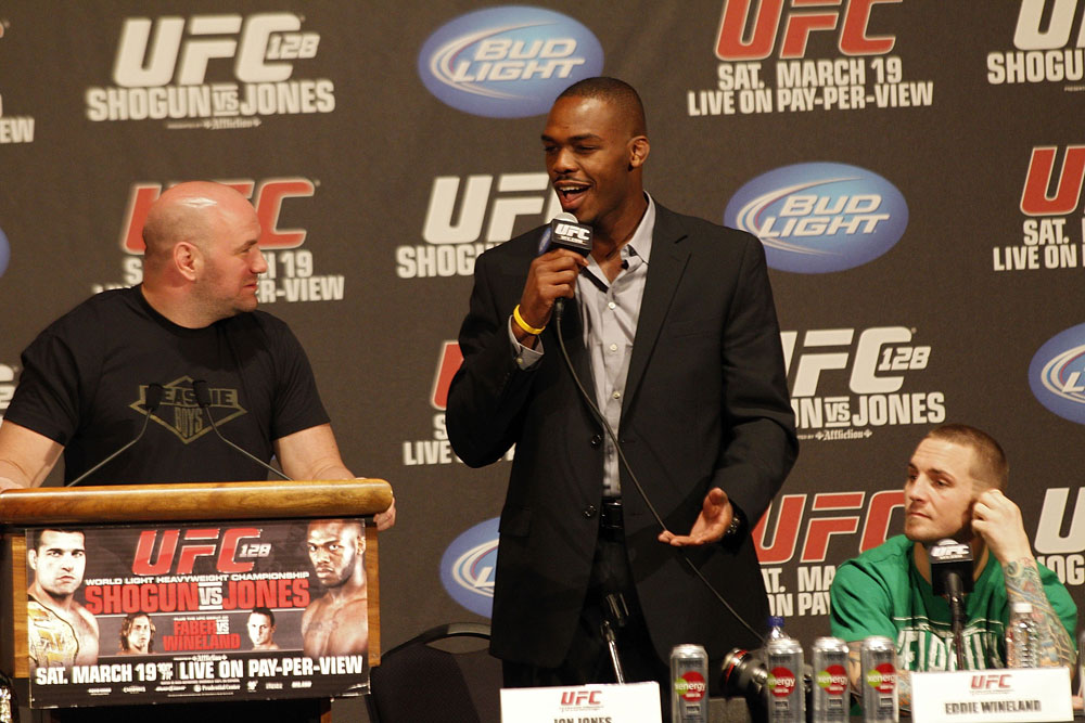 UFC 128: Pre-Fight Press Conference: (L-R) Dana White, Jon Jones and Eddie Wineland
