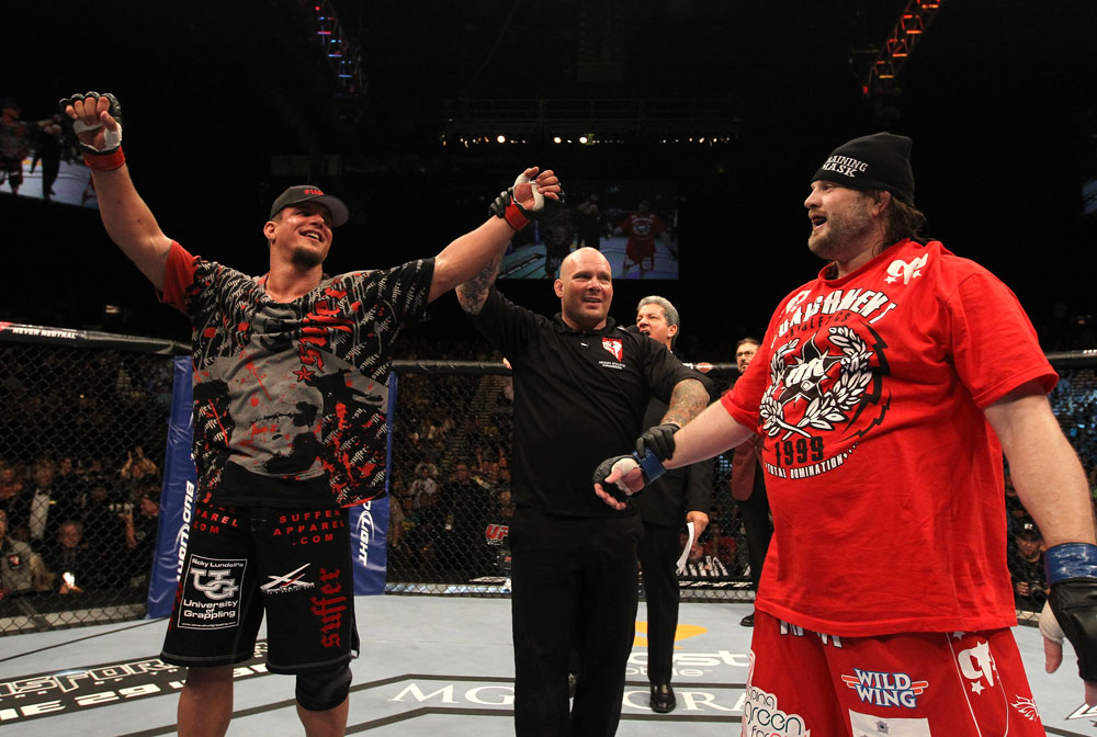 UFC 130: Frank Mir celebrates his win over Roy Nelson