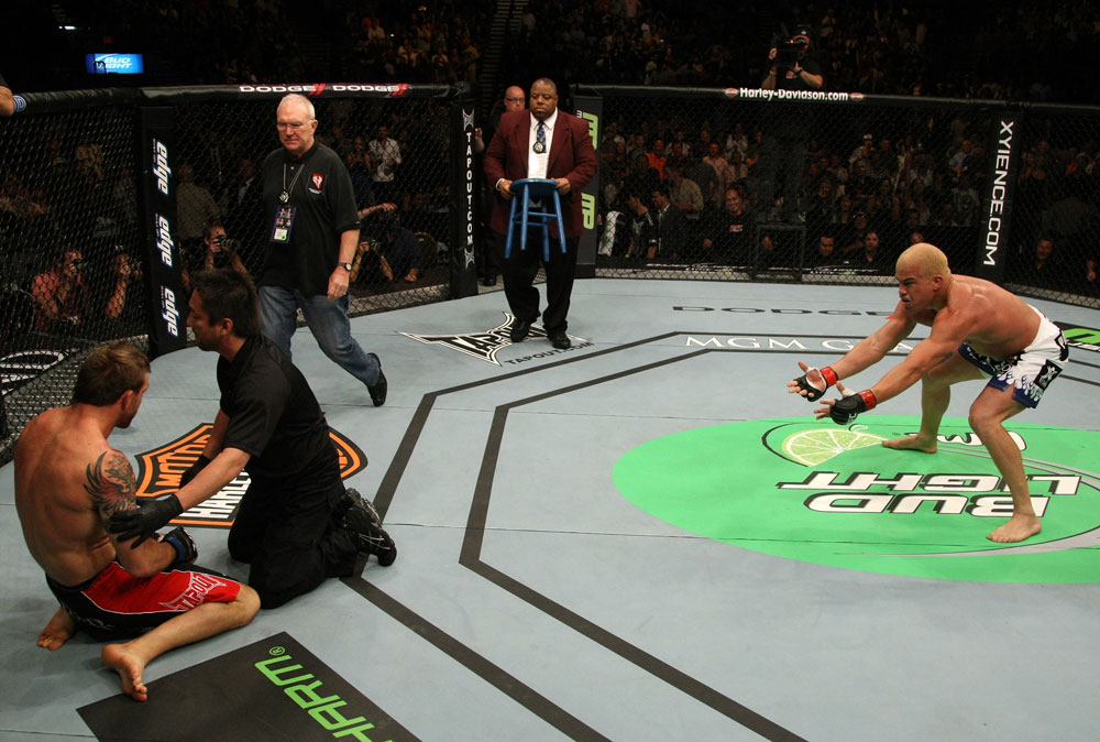 Tito Ortiz celebrates his victory over Ryan Bader.