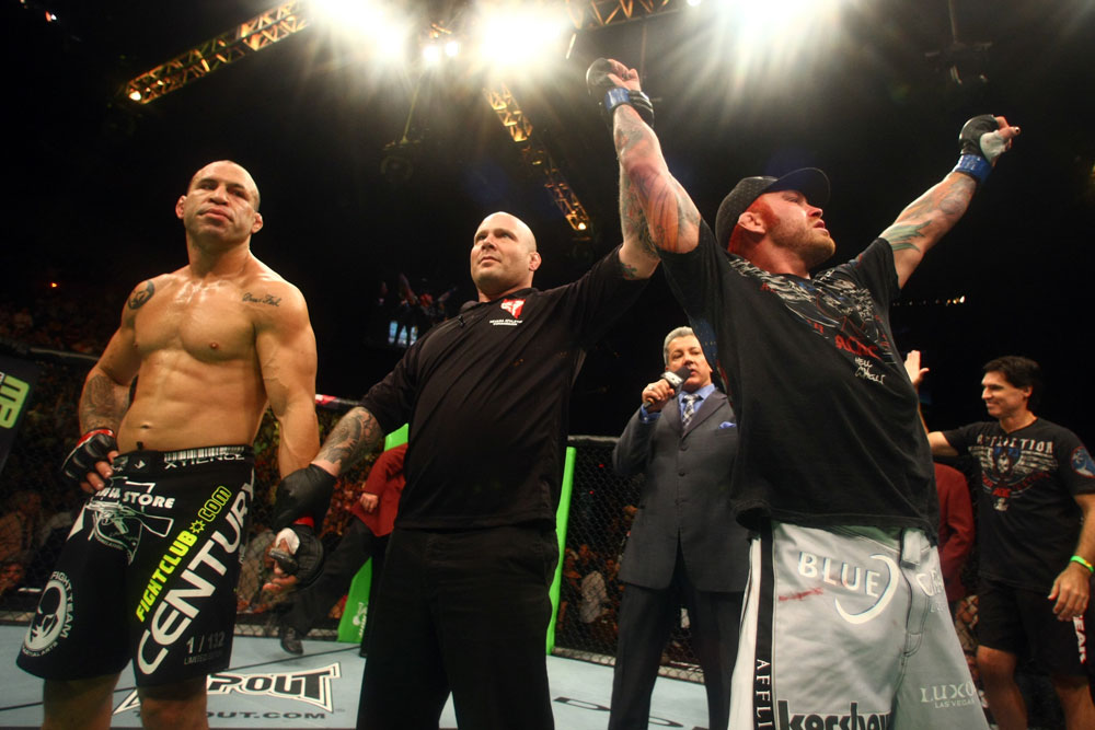 Chris Leben celebrates his win by knockout over Wanderlei Silva.