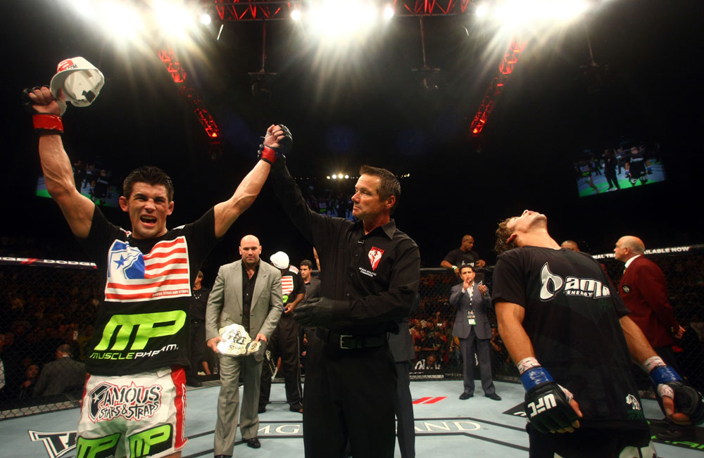 Dominick Cruz wins by decision over Urijah Faber.