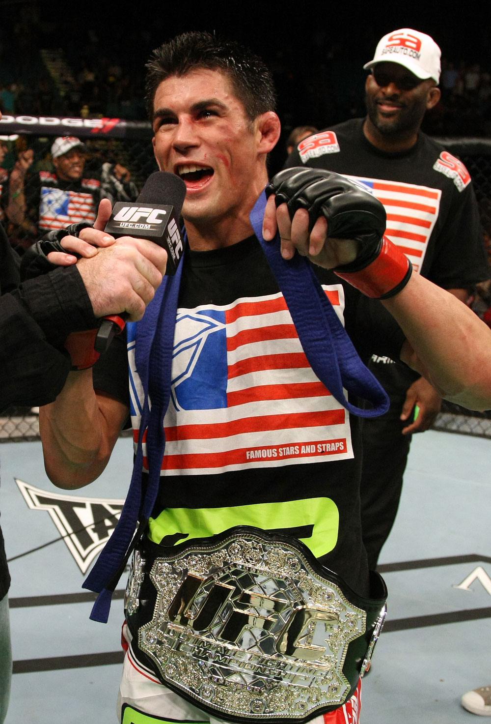 Dominick Cruz celebrates his win.