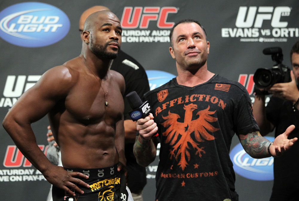 (R) Joe Rogan with (L) Rashad Evans