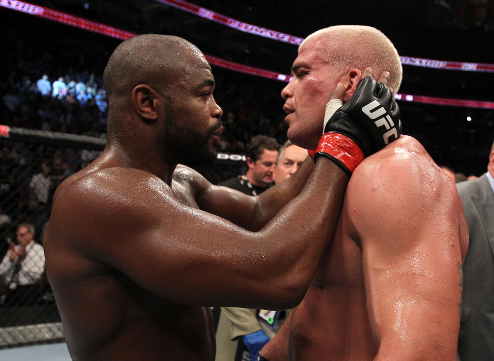 UFC 133: Rashad Evans and Tito Ortiz after their fight.